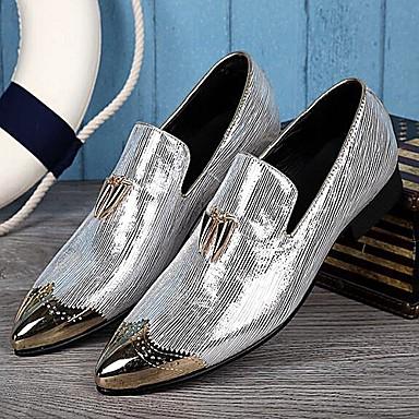 billige Oxfordsko til herrer-Herre Lærsko Lær Vår / Høst Britisk Oxfords Gylden / Sølv / Bryllup / Fest / aften / Fest / aften / Novelty Shoes / Pen sko
