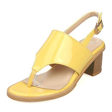 Sandaalit-Leveä korko-Naisten kengät-Tekonahka-Keltainen / Pinkki / Valkoinen / Hopea-Puku-Slingback / Varvassormus / Avokärkiset