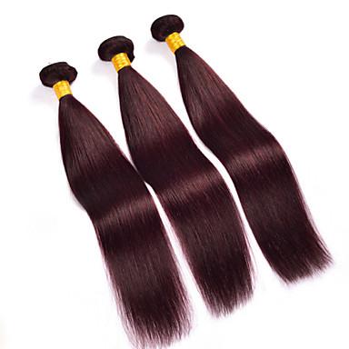 Menneskehår Vevet Brasiliansk hår Rett 6 måneder 3 deler hår vever