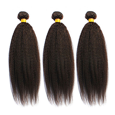 baratos Extensões de Cabelo Natural-3 pacotes Cabelo Brasileiro Liso Kinky Liso 8A Cabelo Humano Cabelo Humano Ondulado Tramas de cabelo humano Extensões de cabelo humano / Reto