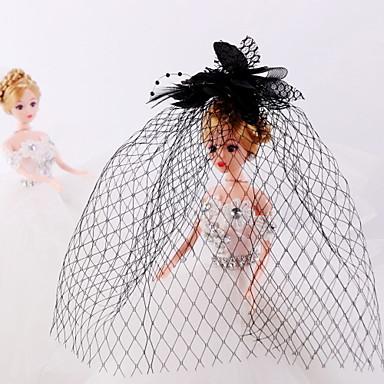 Tulle, rhinestone, pena, rede, birdcage, véus, headpiece, elegante, estilo