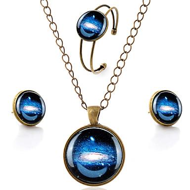 סט תכשיטים סגנון מינימליסטי אבן יקרה זכוכית סגסוגת MOON חום שרשראות עגילים צמיד ל Party יומי קזו'אל 1set מתנות חתונה