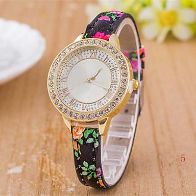בגדי ריקוד נשים שעוני אופנה יהלוםSimulated שעון קווארץ עור להקה צבעוני