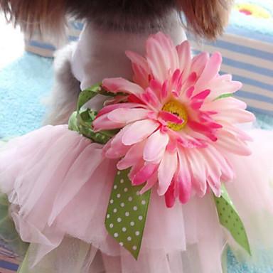 Hund Kjoler Hundeklær Mote Bryllup Blomsternål i krystall Rosa Kostume For kjæledyr