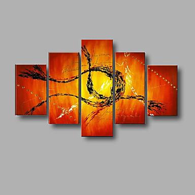 Pintura a Óleo Pintados à mão - Abstrato / Paisagem / Vida Imóvel Modern Tela de pintura / 5 Painéis