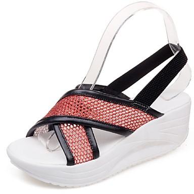 Damen Schuhe Tüll Kunstleder Frühling Sommer Keilabsatz Für Normal Kleid Weiß Silber Rot Rosa Golden