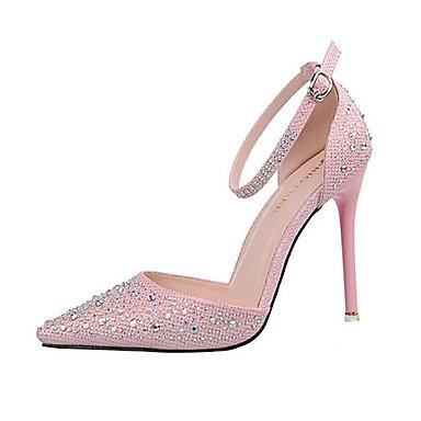 Mujer Zapatos Purpurina Tul Primavera Verano Tacón Stiletto Plataforma Tacón de cristal Para Boda Vestido Fiesta y Noche Plata Dorado kzC6mSlM
