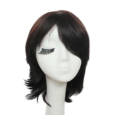 tanksapka nélküli rövid, fekete selymes természetes egyenes 100% emberi haj paróka