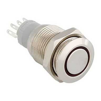 12v rote LED-Metall-Schalter Druckknopf Rastmoment 16mm