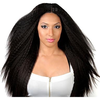 Cabelo Humano Frente de Malha Peruca Liso Kinky Liso 130% Densidade 100% Feita a Mão Peruca Afro Americanas Riscas Naturais Curto Médio