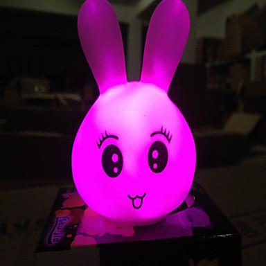 kreative fargeskiftende akryl fargerik nydelig uttrykk for kanin førte natt lys dekorasjon