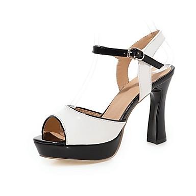 נשים נעליים דמוי עור אביב קיץ סתיו עקב עבה עם עבור קזו'אל שמלה לבן ורוד