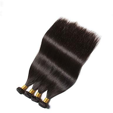 טווה שיער אדם שיער ברזיאלי ישר 4 חלקים שוזרת שיער