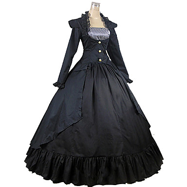 Victorian Medieval 18th Century Square Neck Costume Women's Dress Party Costume Masquerade Black Vintage Cosplay Party Prom Long Sleeve Ankle Length Long Length Ball Gown Plus Size Customized