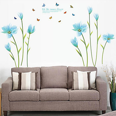 Romantiikka Muoti Kukkakuviot Wall Tarrat Lentokone-seinätarrat Koriste-seinätarrat materiaali Irroitettava Kodinsisustus Seinätarra