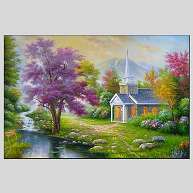מצויר ביד נוף אבסטרקטסגנון ארופאי / מודרני / קלאסי / ריאליסטי / פסטורלי פנל אחד בד ציור שמן צבוע-Hang For קישוט הבית