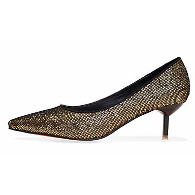 Feminino Saltos Conforto Cetim com Stretch Outono Casual Conforto Salto Agulha Preto Prata Dourado 5 a 7 cm