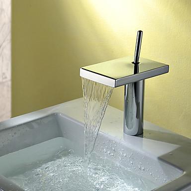 Moderne deckenmontiert Wasserfall Keramisches Ventil Ein Loch Einhand Ein Loch Chrom , Waschbecken Wasserhahn
