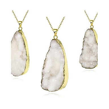 נשים שרשראות תליון קריסטל קריסטל נחושת ציפוי זהב Oval Shape טיפה לבן תכשיטים Party יומי 1pc