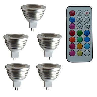 billige Elpærer-5pcs 3 W LED-spotpærer 300 lm GU5.3(MR16) MR16 1 LED perler Høyeffekts-LED Mulighet for demping Fjernstyrt Dekorativ RGB 12 V / 5 stk. / RoHs