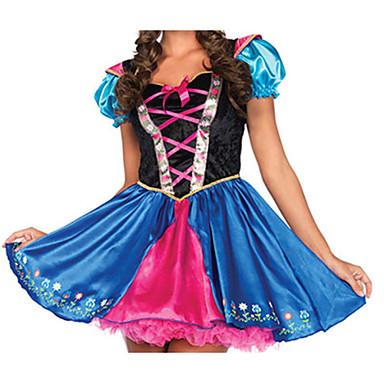 Cosplay-Asut Juhla-asu Oktoberfest Festivaali/loma Halloween-asut Sininen Painettu Leninki Halloween Karnevaali Uusi vuosi Naiset