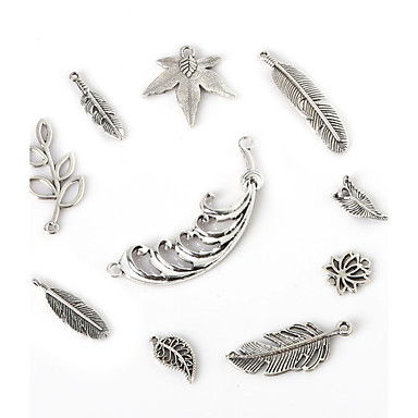 Beadia Antique Silver Metal Feather Charm Pendants Olive Tree Flower Leaf Jewelry Connectors DIY Accessories