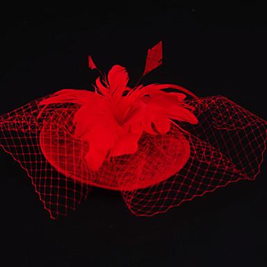 Flax Feather net fascinators headpiece Estilo clássico feminino