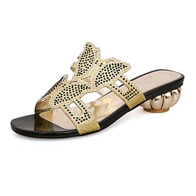 Sandaalit-Leveä korko-Naisten kengät-Glitter-Musta / Vihreä-Häät / Puku / Rento / Juhlat-Comfort