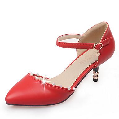 Damen Schuhe Kunstleder Frühling / Sommer D'Orsay und Zweiteiler Stöckelabsatz Imitationsperle Beige / Rot / Grün / Party & Festivität