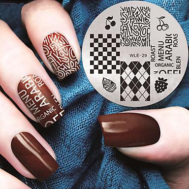 1 pcs Stempling plade Skabelon Moderigtigt Design Negle kunst Manicure Pedicure Stilfuld / Mode Daglig / Stempling Plate / Metal
