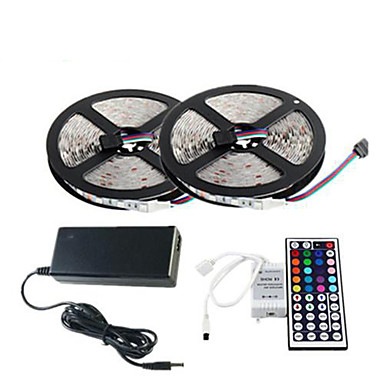 ZDM® 2x5M / 10M Verlichtingssets 2*150 LEDs 1 44-toetsen afstandsbediening / 1 x 12V 3A-adapter / 1 AC-kabel RGB Knipbaar /
