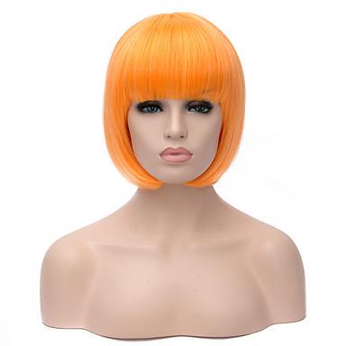 Kvinder Syntetiske parykker Maskinprodusert Kort Rett Svart Lilla Gul Blond Lys Rosa Bobfrisyre costume Parykker
