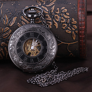 cheap Pocket Watches-Men's Pocket Watch Mechanical Watch Automatic self-winding Black Hollow Engraving Analog Luxury Steampunk - Black