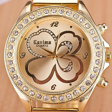Damen Modeuhr Simulierter Diamant Uhr Quartz Armbanduhren für den Alltag Legierung Band Gold