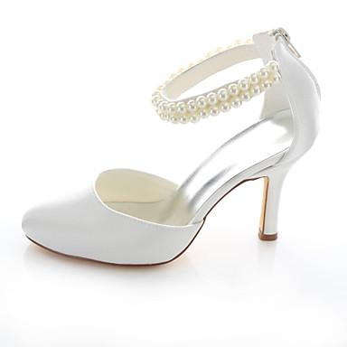 Femme Ivoire amp; Mariage Aiguille Eté Evénement Chaussures Soirée Satin 04982028 Talon Printemps Automne Elastique Perle zfrz4vq