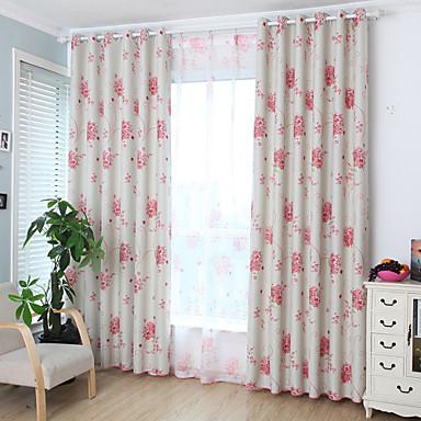 2 paneeli Modernit Kukka-aihe / Kasvitieteellinen Vaaleanpunainen Lastenhuone Polyesteri Pimennysvuoritus Drapes