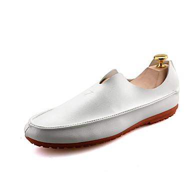 Loafers og Slip-ons-Nappa Leather-Komfort-Herre-Sort Hvid Orange-Udendørs Fritid Fest/aften-Flad hæl