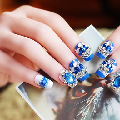 24X / set falsche Nägel falschen Nagel fertig Maniküre Nägel Tipps blauen Diamanten