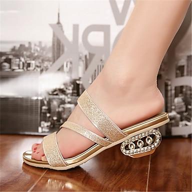 클로그 & 뮬-드레스 / 캐쥬얼 / 파티/이브닝-여성의 신발-열린 앞코-글리터 / 맞춤 재질-낮은 굽-실버 / 골드