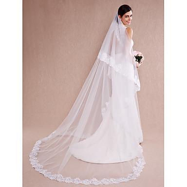 Véus de Noiva Uma Camada Véu Catedral Borda com aplicação de Renda Tule Branco Bege