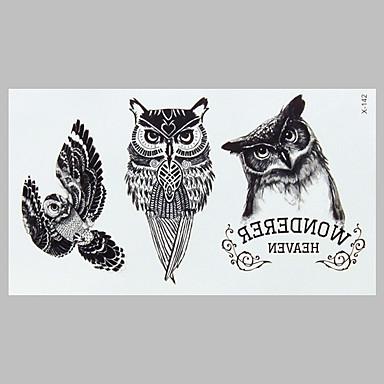 moda tatuagem coruja preta tatuagem impermeável adesivos