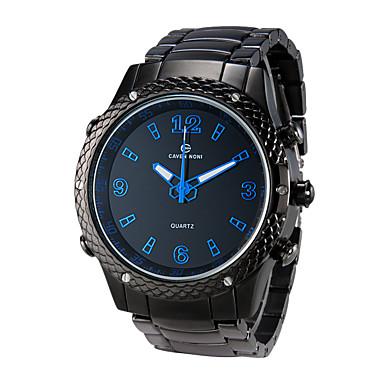 Herren Sportuhr Armbanduhr Quartz LED Kalender Chronograph Wasserdicht Duale Zeitzonen Alarm leuchtend Legierung Band SchwarzRot Grün