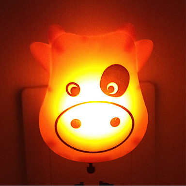kreative warme weiße Kuh Lichtsensor Baby in Bezug Schlaf Nachtlicht (gelegentliche Farbe)