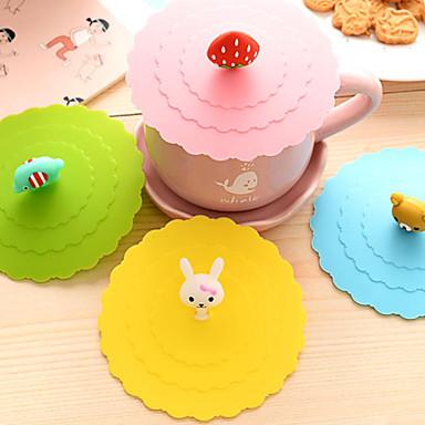 dia 11 centímetros vários desenhos animados animais silicone copo creativo drinkware cap caneca da cor (cor aleatória)