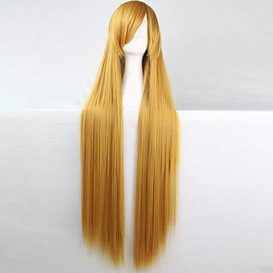 Syntetiske parykker / Kostymeparykker Dame Rett Lyserød Asymmetrisk frisyre Syntetisk hår Naturlig hårlinje Lyserød Parykk Lang Lokkløs Gul