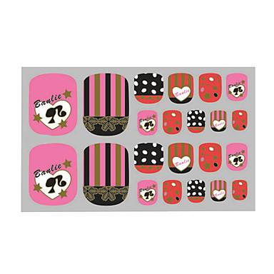 vakre tånegler klistremerke tipser rosa 3d spiker klistremerker