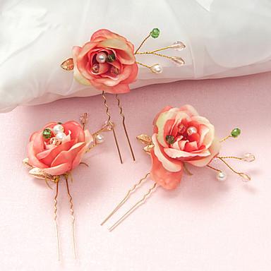 Damen Blumenmädchen Kristall Legierung Künstliche Perle Harz Kopfschmuck-Hochzeit Besondere Anlässe Haarklammer 2 Stück
