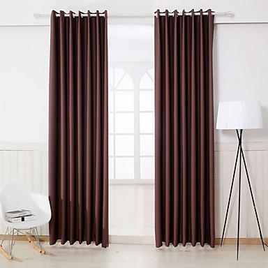 Két panel Modern Tömör Barna Hálószoba Műselyem Sötétítőfüggöny Drapes