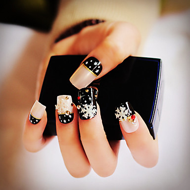 24X / set falsche Nägel falschen Nagel fertig Maniküre Nägel Spitzen schwarz Schnee