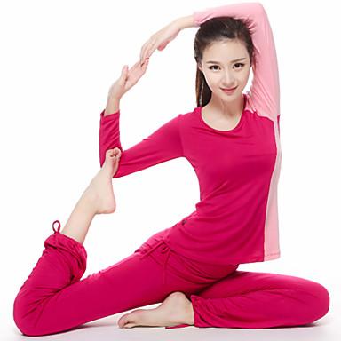 Dame Crew-hals Yogaklær - Svart, Rød, Blå sport Klessett Langermet Sportsklær Fort Tørring, Pustende, Komprimering Elastisk